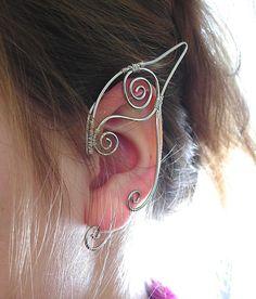 Pair of Silver Elf Ear Cuffs Ear Wraps Renaissance by jhammerberg