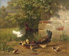 Carl Jutz (1838-1916) - Diner time, oil on panel, 22 x 27cm.