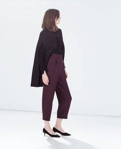 Image 3 of HIGH WAISTED WIDE CROPPED TROUSERS from Zara