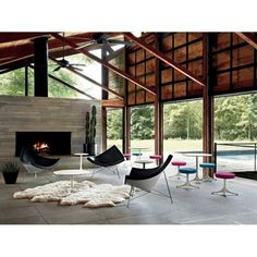 Modern cabin feels with rich woods steel structure supports and concrete floors