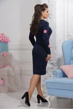 57529d80df3 Повседневное теплое платье с ярким рисунком