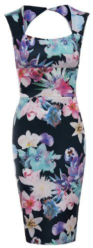 Multi Floral Bodycon Midi Dress