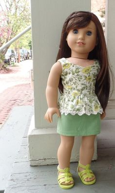 American Girl Doll clothes: Peplum top by GumbieCatDollClothes