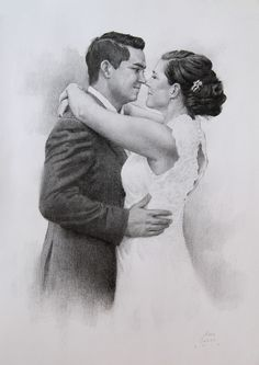 $70 Custom Couple Portrait Wedding Anniversary Gift For Her For Him Couple Pencil Drawing Romantic Gift Personalized Gift Art Sketch From Photo