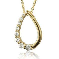 18k Yellow Gold Tear Drop Journey Diamond Pendant Necklace (GH,SI,0.50 carat)