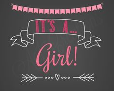 It's A Girl Printable Sign - It's a Boy Chalkboard Poster - Pregnancy Sign…