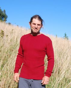 Men's Fashion Red Long Sleeve Thermal Crew Neck Shirt by SoulRole, $80.00