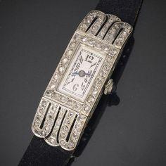 d348e8f400d Vintage Watches Collection : Antique White 18k Gold & Diamonds Lady Wrist  Watch French Art Deco