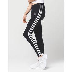 Adidas 3 Stripes Womens Leggings ($35) ❤ liked on Polyvore featuring pants, leggings, adidas leggings, cotton pants, embroidered pants, adidas trefoil leggings and elastic pants