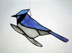 Bluejay Stained Glass Suncatcher Bird Glass Art by BerlinGlass