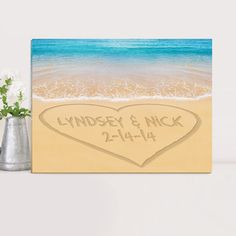 Personalized Caribbean Sea with Heart Canvas Print- This attractive gallery wrapped canvas touts the beauty and romance of a special day and peacefulness of the shore. A great way to remember a treasured family vacation, honeymoon, mark an anniversar Personalised Canvas, Personalized Wall Art, Personalized Wedding Gifts, Wedding Canvas, Wedding Sand, Rustic Wedding, Wedding Ideas, Wedding Favors, Wedding Decor
