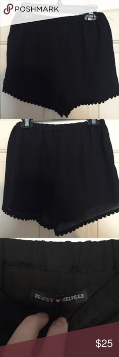 Brandy Melville black shorts with embellished hem Never worn but don't have tags- Brandy Melville black shorts with embellished hem, one size! Brandy Melville Shorts