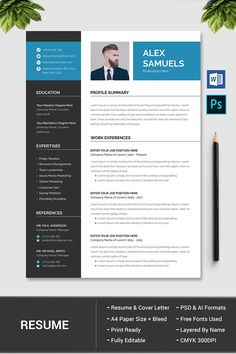 Hi there, this is a Perfect Resume Template for you! This template is Super Easy to Edit, so you can quickly tailor-make your resume for any opportunity and help you to get your job. This professional… Modern Resume Template, Creative Resume Templates, Cv Template, Creative Cv, Resume Words, Resume Writing, Cv Consultant, Job Resume, Resume Ideas