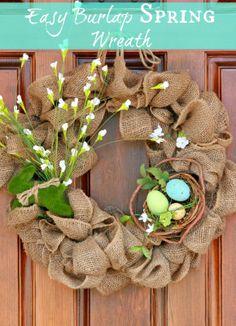 my pb+j: easy spring burlap wreath {diy tutorial} | Craft Ideas ...