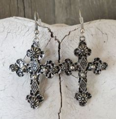 Cowgirl Bling Spanish CROSS EARRINGS Hammered Silver metal Gypsy Southwest our prices are WAY BELOW RETAIL! all JEWELRY SHIPS FREE! www.baharanchwesternwear.com baha ranch western wear ebay seller id soloedition