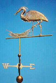 Great Blue Heron Weather Vane, Flying with Baby by West Coast Weather Vanes.