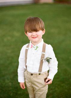 Ring bearer, khaki pants, suspenders, chevron pastel bowtie // Marni Rothschild Pictures
