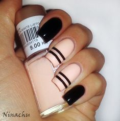 Black & Pale Pink #♛ #NailTrends