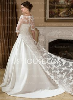 Wraps - $96.99 - Half-Sleeve Lace Wedding Wrap (013024557) http://jjshouse.com/Half-Sleeve-Lace-Wedding-Wrap-013024557-g24557