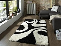 Shaggy Black And White Area Rug