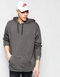 ASOS Oversized Longline Hoodie With Zip Pocket & Drawstring