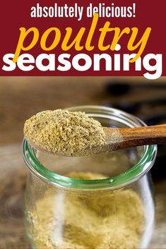 Seasoning is best when homemade and it is super easy to make. The ingredients are most likely in your pantry right now and make the perfect blend to add flavor to chicken, turkey, vegetables, and soups!Poultry Seasoning is best when homemade and it is sup Turkey Seasoning, Vegetable Seasoning, Chicken Seasoning, Recipe For Poultry Seasoning, Homemade Spices, Homemade Seasonings, Homemade Recipe, Tapas, Dried Lemon