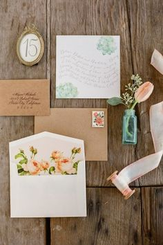 Seafoam & Rose Wedding Invitations