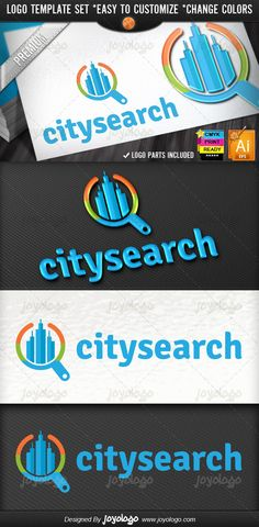 Buildings Search City Finder Logo Design Template