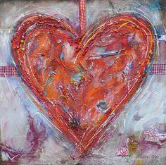 Voor Inspiratie  Beschilder een doek met een hart. Doe het met dikke verf en schilder het er met grote klodders op. Geeft een cool effect!