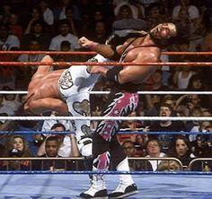 Shawn Michaels superkicks Bret Hart