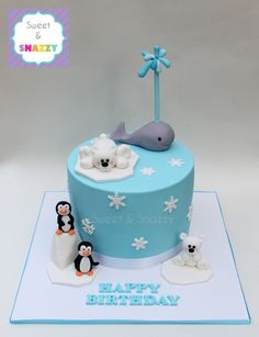Polar cake - arctic cake - with fondant polar bears, whale, penguins by Sweet & Snazzy https://www.facebook.com/sweetandsnazzy