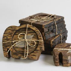 1x Set Kyoto Palm Wood Gift Pack Handmade Coasters Vintage Coaster Elehant