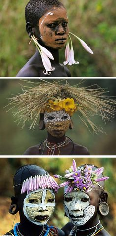 """""""Natural Fashion"""" Tribal Decoration from the Omo Valley, Ethiopia Africa Art, East Africa, We Are The World, People Around The World, Afrika Tattoos, Estilo Hippie Chic, Tribal Face, Africa People, African Tribes"""