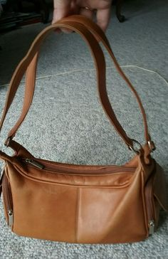 Cabela's Leather Purse Brown Zipper & Flap Over Pockets inside & Out ECU #Cabelas #ShoulderBag