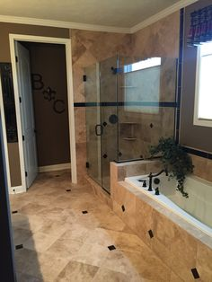 Bathroom Remodel Double Sink master bath remodel with custom tile, glass shower, soaking bath