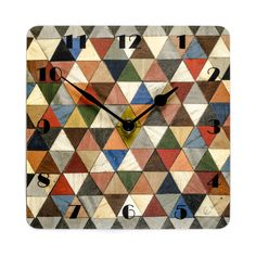 Wall Clock Geometric Wall Clock Art Deco Wall by EInderDesigns