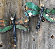 Dragonflies made from old metal sign!
