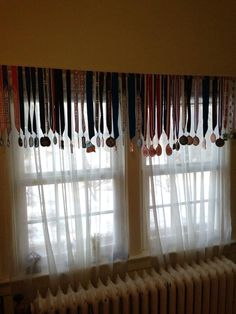 An easy valance using my girl's gymnastics medals.