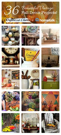 36 Beautiful {Vintage} Fall Decor Projects | curated by 'Organized Clutter' blog!