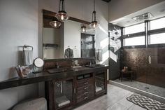 Contemporary Master Bathroom with Soapstone counters, frameless showerdoor, Double sink, High ceiling, Flush, Glass panel