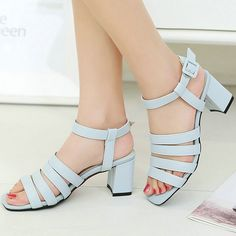 AIWEIYi PU Leather Summer Sandals Women Simple Square High Heels Peep-toe Sandals Thick Heel Summer Shoes For Woman Size 34-43
