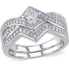 Miabella 5/8 Carat T.W. Princess and Round-Cut Diamond 14kt White Gold Cross-Over Bridal Set