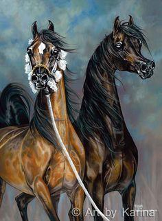Maternal Sisters - giclee print by Karina Peacemaker. Arabian horse art. www.artbykarina.com