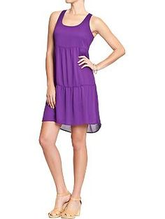 Womens Chiffon Tank Dresses...love this purple and how it's a little longer in the back.