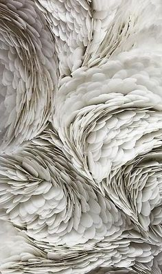 As explained in the link the artist Mindy Shapero creates different shapes and texture using different materials feather -like for me but interesting piece of art. Textures Patterns, Color Patterns, Pattern Ideas, Fabric Patterns, Foto Art, Paperclay, Shades Of White, Fabric Manipulation, Photo Manipulation