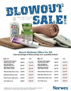 Big March Madness Sale!!  Available as of March 4th   www.vanessapronge.norwex.biz  while supplies last!