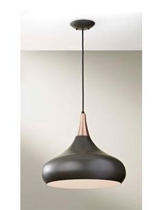 This pendant from Feiss' Beso collection has a sleek silhouette, accented by a dark bronze finish. TM 4010. www.feiss.com