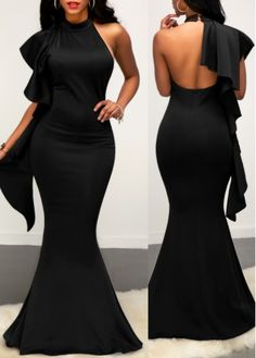Flouncing Open Back Sleeveless Black Mermaid Dress on sale only US$33.95 now, buy cheap Flouncing Open Back Sleeveless Black Mermaid Dress at liligal.com