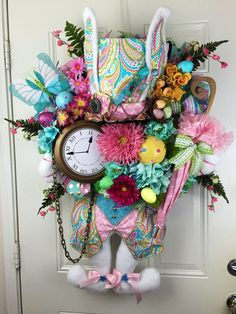 Mad Hatter Easter Wreath Mad Hatter Bunny by RhondasCre8iveCorner