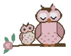 Owl Cross Stitch Pattern  Mom and Baby Owl On A by Tree Branch CrossStitchDiva, $4.50